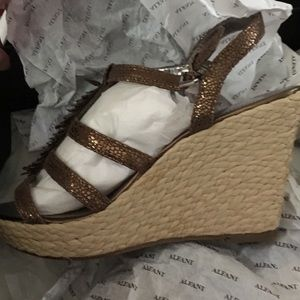 Alfani bronze wedge sandals